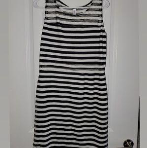 New Xhilaration Striped Mesh Black & White Dress